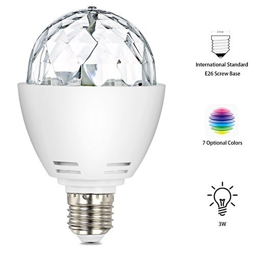 DiscoBulb Light IDRLINK 3W E27 RGB Disco Stage Bulb Sound Activated LED Strobe Light Bulb Party Light with Remote Control-Ideal for Home Party birthday DJ Bar Karaoke Xmas Wedding Show Club Pub