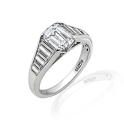 Ring Engagement Baguette Sterling Silver - Diamonbliss Sterling Silver Cubic Zirconia Emerald Cut & Tapered Baguette Ring, Size 7