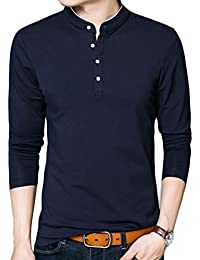 Mens Stylish Polo T-shirt Long Sleeve Crewneck Button Top Tees