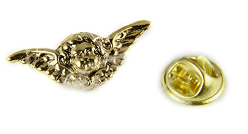 6030175 Touched By An Angel Lapel Pin Guardian Angel Wings Cherub Brooche Tie Tack Brooch Feather ()