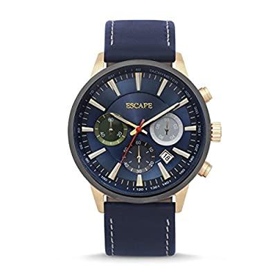 Mens Indio Gold-Blue Leather Chrono