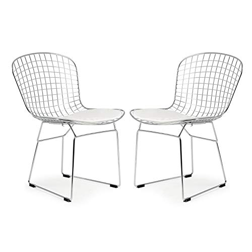 Bertoia Wire Diamond Chair - Poly and Bark Morph Side Chair in White (Set of 2)