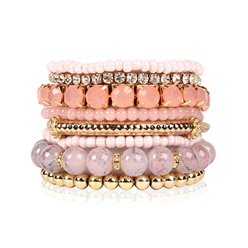 (RIAH FASHION Multi Color Stretch Beaded Stackable Bracelets - Layering Bead Strand Statement Bangles (Original - Pink, 7))