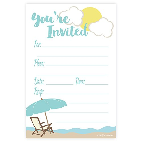 Beach Theme Fill In Invitations - Any Occassion (Birthday, Retirement Party, Summer) - 20 Count With Envelopes