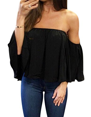 Women Summer Off Shoulder Chiffon Blouses Ruffles Short Sleeves Sexy Tops Casual T Shirts (Black, S) (Best Boxing Day Deals 2019)