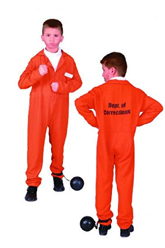 OvedcRay Orange Child Prisoner Convict Boy Costumes Jailbird Kids Jumpsuit - Eastbound And Down Halloween Costumes