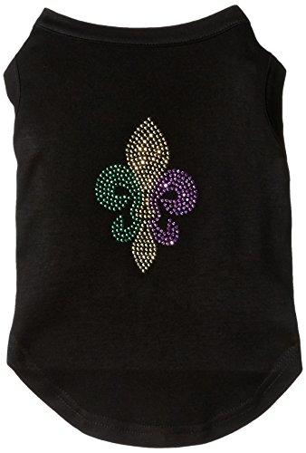 Mirage Pet Products Mardi Gras Fleur De Lis Rhinestone Dog Shirt, Large, Black