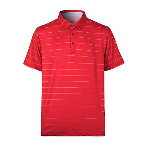 Men's Short Sleeve Moisture Wicking Performance Golf Polo Shirt (Red,4XL)