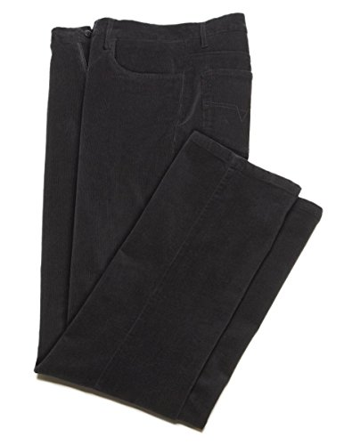 Illegal, Stretch Fine Wale Corduroy Casual Pants, Flat Front - for Men Black 30