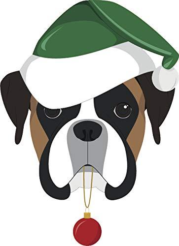 - Simple Cute Holiday Christmas Theme Pure Breed Puppy Dog Cartoon Emoji Vinyl Sticker, Boxer