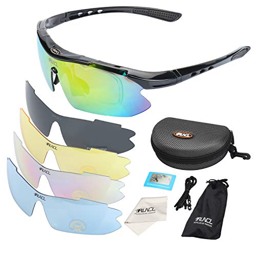 RUNCL Sports Polarized Sunglasses Semi-Rimless Style 5 Interchangeable Lens for Fishing Driving Cycling Hunting Running Skiing Climbing Trekking (Black Frame)
