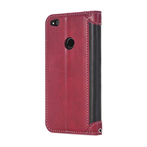 Ekakashop Wallet Fermeture avec en Huawei Huawei Coque pour Portefeuille Épissure Protection Couverture Épissure Fashion Cui P8 8 Coque PU Lite de Motif Shell Housse étui Rabat Noir Rouge Rouge Honor 2017 Lite Magnetique IUIpqdwRO
