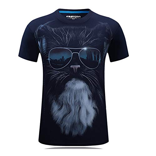 Mens 3D Animal Printed Black Dog Sunglasses Short Sleeve Casual T Shirts Round Neck Funny Couple Cotton Tees Summer Tibetan Blue ()