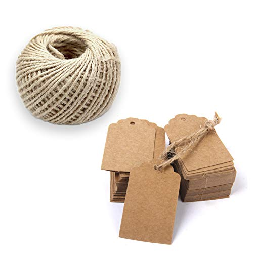 Gift Tags, 150 Pcs Paper Tags Brown Rectangle Craft Price Tag Labels Hang Blank Tags with String 50 Feet Natural Jute Twine, Petect for Wedding Birthday Party Decoration Gifts, Organizing, 5x3cm ()