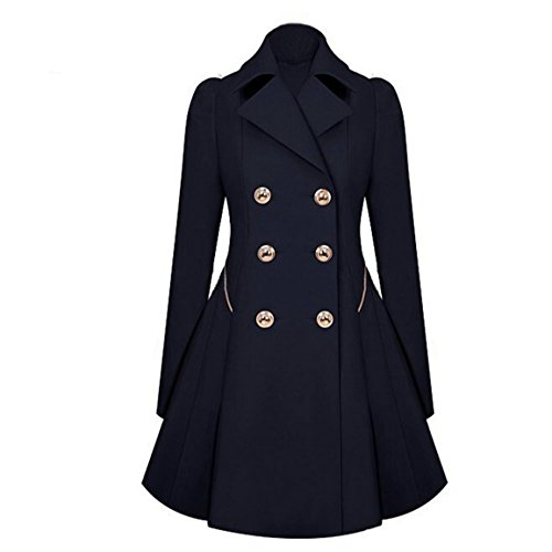 HN Women Elegant Long Trench Coat Jacket Women Double Breasted Pea Overcoat (M, Navy)