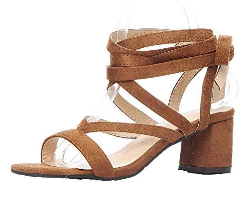 Correct Talon AgooLar Lacet Couleur d'orteil Unie à Jaune Sandales Ouverture Femme nwxprwF78