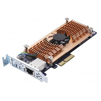 QNAP QM2-2S10G1T Dual M 2 22110/2280 SATA SSD and Single 10GBASE-T 10GbE  Network Expansion Card (PCIe Gen2 x 4), Low-Profile Bracket pre-Loaded,  Flat