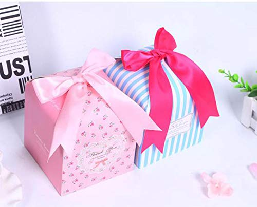 SHHS Pink and Blue Candy Packaging Box(6set),Candy Gift Box Bow Blessing Decorative Presents Bags Bundle for Packing Baking - Decorative Present