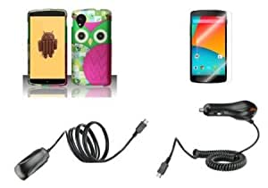 Bloutina LG Google Nexus 5 - Accessory Combo Kit - Hot Pink and Green Owl Design Cover Case + Atom LED Keychain Light +...