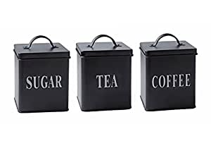 Galzone Set of 3 Tea Coffee Sugar Canisters, Black