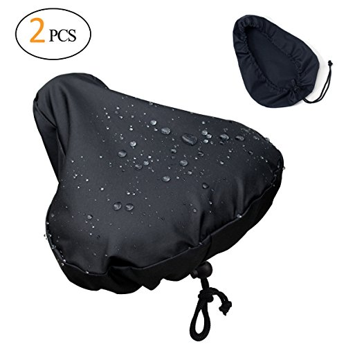 [2 Packs] Waterproof Bike Seat Rain Cover with Drawstring – Rain and Dust (Seat Rain Cover)