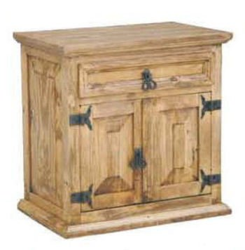 Rustic Mansion Nightstand, Western, Real Wood, Bedside Table