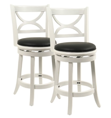 Boraam 3724 Florence Counter Height Stool, 24-Inch, Distressed White, 2-Pack (Collection Distressed Black Finish)