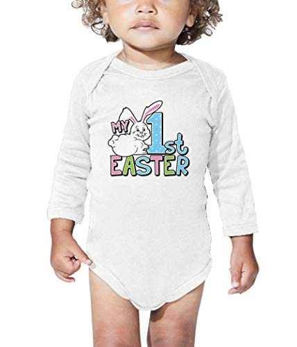 HAASE UNLIMITED My 1st Easter - First Bunny Egg Hunt Long Sleeve Bodysuit (White, 12 Months) (Hang Basket Wht)