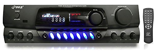 Mic Receiver (PYLE PT265BT Bluetooth 200W Digital Receiver Amplifier for Karaoke Mixing with Two Microphone Inputs & Four Speaker Outputs)