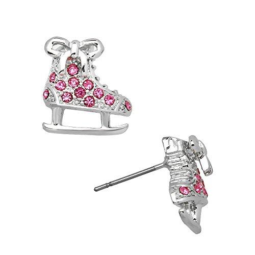 Pink Crystal Ice Skate Silvertone Post Earrings