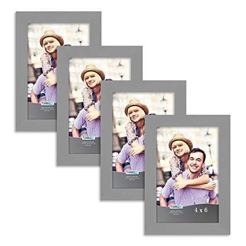 Icona Bay 4x6 Picture Frame Set (4 Pack, Gray) 4x6 Frame, Tabletop and Wall Hang Hardware Included with Photo Frames, Impresia Collection ()