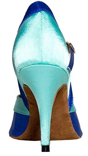 L002 salabobo Satin Zapatos Toe de de Peep nbsp;Womens baile Latina Professional Azul baile Heeled hebilla apxadRrq