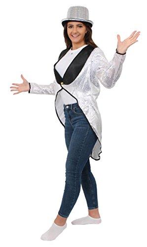 SILVER SEQUIN TAILCOAT DANCE COSTUME UNISEX MENS LADIES FANCY DRESS CABARET SHOW