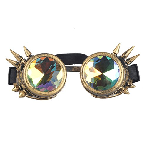Careonline Vintage STEAMPUNK GOGGLES&Glasses Bling Lens Rustic Goth COSPLAY PARTY Rivets, Brass (Spikes), One Size ()