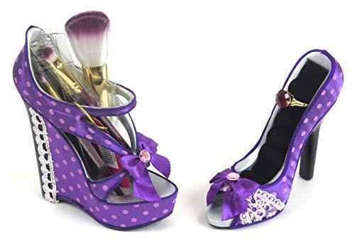 Jacki Design Makeup Brushes Holder Rings Holder, Polkadot Purple Shoe Style Set.