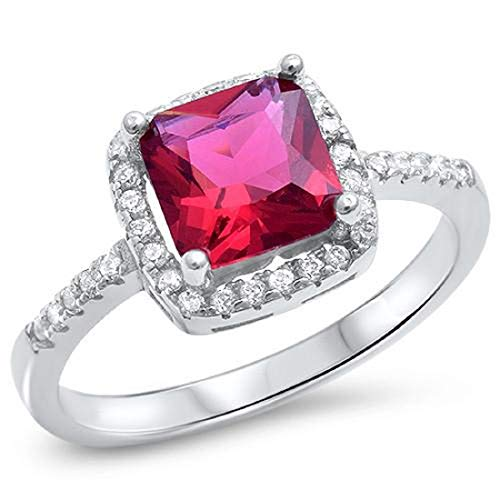 Solitaire Halo Wedding Engagement Ring Cushion Cut Simulated Red Ruby Round CZ 925 Sterling Silver