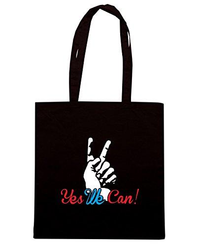 T-Shirtshock - Bolsa para la compra T0057 yes we can politica Negro
