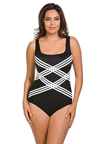 Longitude Colorblock Sccoopneck Overlay One Piece Swimsuit Black (14) - Piece One Longitude