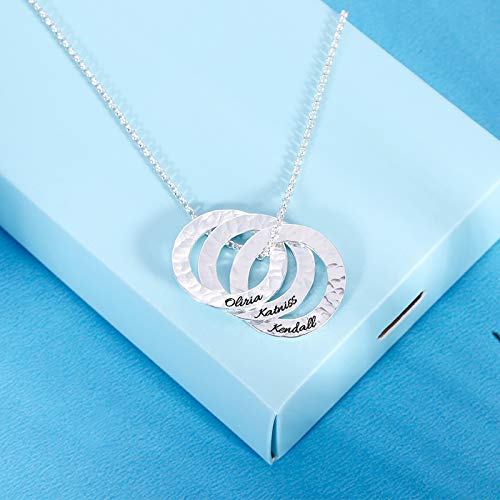 Getname Necklace Personalized Interlocking Russian Rings Hammered Name Necklace 925 Sterling Silver Engraved Necklace for Mom Women
