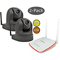 2-Pack Foscam FI9826W Black 3x Optical Zoom 1.3 MP (960P) WiFi IP Camera & FR305 WiFi Router/Repeater Bundle, Dual Range Amplification