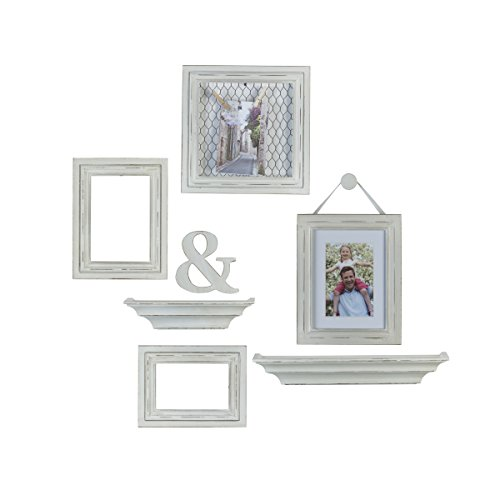 White Photo Plaque - MELANNCO 8-Piece Distressed Wall Picture Frame Set (White)