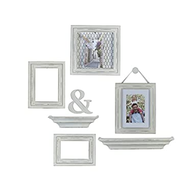 Melannco 8-Piece Distressed Wall Picture Frame Set (White)