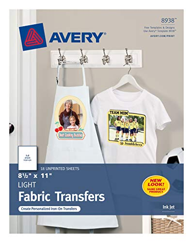 Avery Printable T-Shirt Transfers, For Use on Light Fabrics, Inkjet Printers, 18 Paper Transfers (8938) (T-shirt Peel Transfer)
