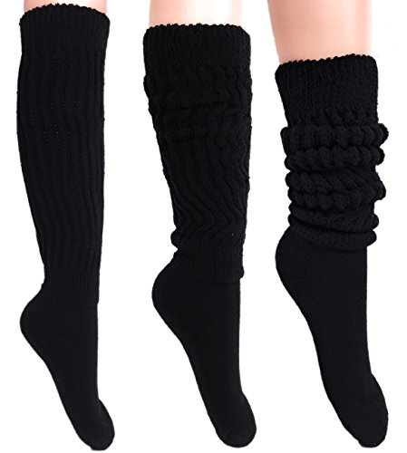 Women's Extra Long Heavy Slouch Cotton Socks Made in USA Size 9 to 11 (3 Pairs - Black) ()