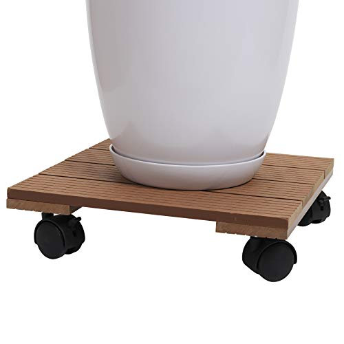 (Plastic Wooden Plant Stand Square Roller with Brakes - 12