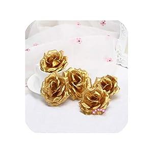 Pink-star 1pc 8cm Gold Silk Rose Artificial Flower Wedding Home Furnishings DIY Wreath Sheets Handicrafts Simulation Pretty Fake Flowers 14