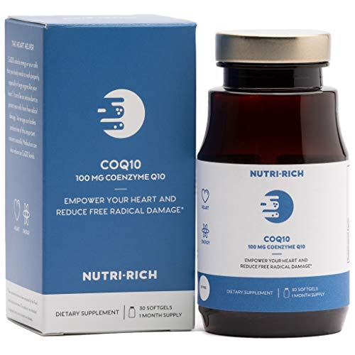 Cheap CoQ10 by Nutri-Rich –HIGH Potency 100mg coenzyme Q10, Antioxidant for Heart Health & Cellular Energy, Naturally Fermented, for Aging & Statin Usage (30 Softgels)