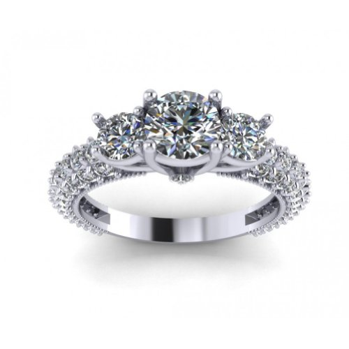 2.60 ct Ladies Round Cut Diamond Engagement Ring With Accented Diamonds in Platinum