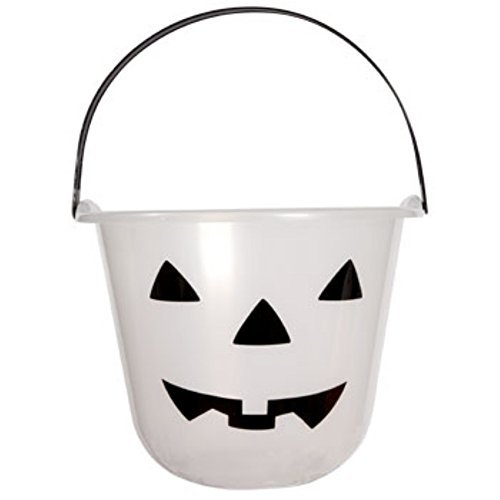 Glow-in-The-Dark Jack-o-Lantern Treat Pails with Carrying Handles Ready for Trick-or-treaters