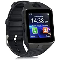 Plateforce Bluetooth Smartwatch with TF Card and Camera, Sim and Multilanguage Support for All Smartphones (Black)